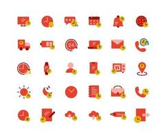Time Flat Icon Set vector