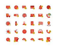 conjunto de iconos planos de tiempo vector