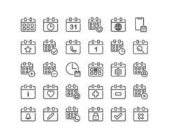 conjunto de iconos de esquema de calendario vector