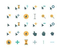 Cursor Flat Icon Set vector