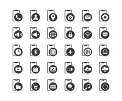 Smartphone Functions and Apps Solid Icon Set vector