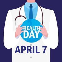 tarjeta del día mundial de la salud con doctor