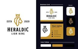 León de cabeza heráldica con corona plantilla de logotipo de color dorado vector