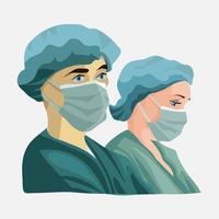 Doctors wearing medical face masks vector