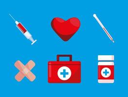 First aid kit with set icons vector
