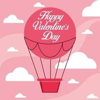 Happy valentines day card with balloon air hot vector