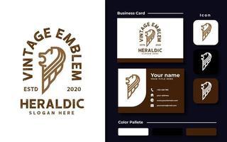 plantilla de logotipo de león heráldico vintage vector