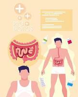cuerpos de hombre con medicamentos probióticos vector