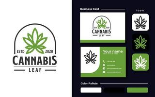 Cannabis Emblem Line Art Logo Template with Black Color