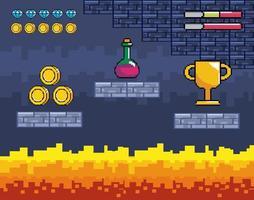 Videogame fire scene vector