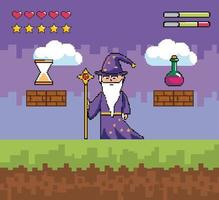 Videogame scene with wizard and pixel icons