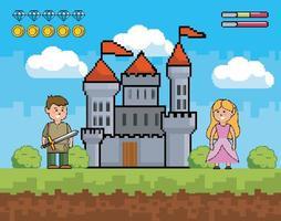 escena de videojuego con príncipe y princesa. vector