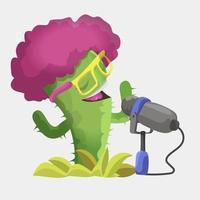 cactus con micrófono vector