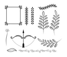 Frame decoration icon set vector