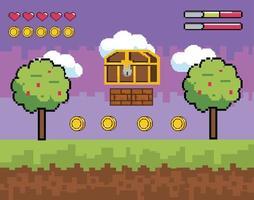 escena de videojuego con cofre estilo pixel vector