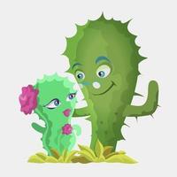personajes de cactus lindos vector