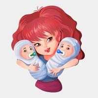 mujer abrazando a bebés gemelos