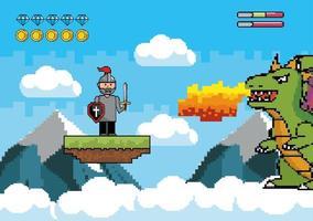 Escena de videojuego con guerrero y dragón. vector