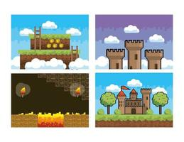 Set of videogame graphic backgrounds vector