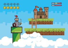 Videogame scene with warrior and castle vector