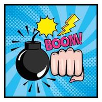 Bomb and fist with onomatopoeia pop-art style vector