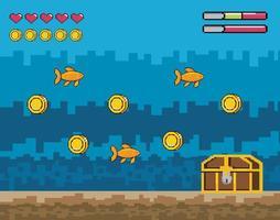 Videogame underwater scene  vector