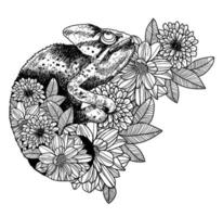 Tattoo art chameleon hand drawing vector