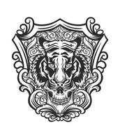 Tiger skull tattoo-style design vector