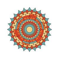 hermoso mandala de color turquesa y naranja vector
