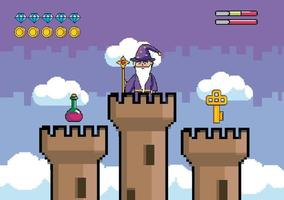 Videogame scene with wizard and towers vector