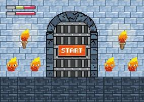 Start videogame scene with gate and fire characters vector