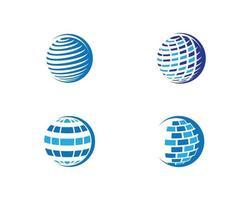 Set of blue global logo designs vector