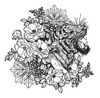 Tattoo art tiger hand drawing  vector