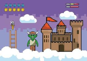 Videogame scene with demon and castle vector