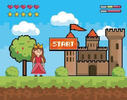Start videogame scene with princess and castle vector