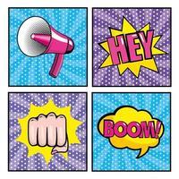 Set of pop-art icons