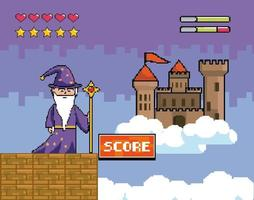 Videogame scene with wizard and castle vector