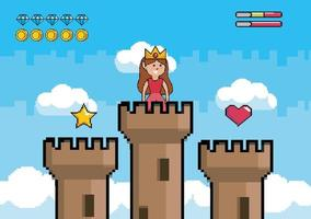 Videogame scene with princess on top of a tower vector