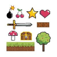 Videogame pixel graphic icon set