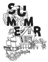 Summer home collection hand drawn
