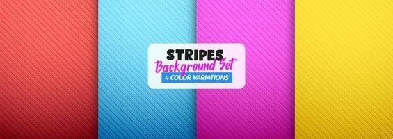 Striped color background set vector