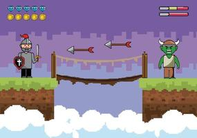 Videogame battle scene vector