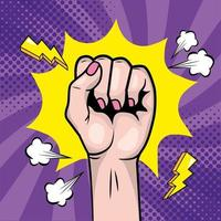 Woman's fist in a pop-art style vector
