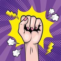 Woman's fist in a pop-art style