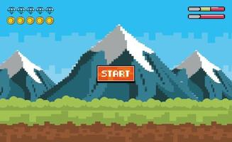 Start videogame scene with mountains