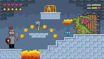 Videogame battle scene on a dungeon background