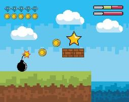 Videogame scene with star, coins, and bomb