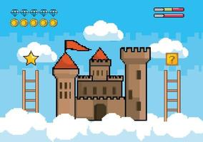 Videogame scene with castle in the air vector