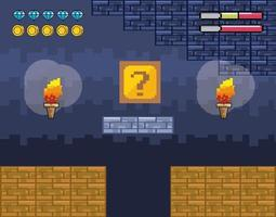 Videogame scene with torches and question box vector
