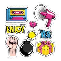 Set of pop-art icons vector